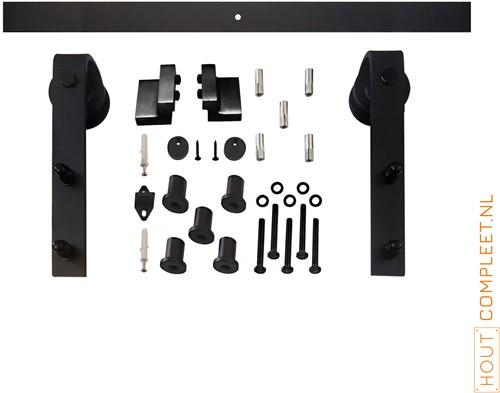Schuifdeursysteem 2 meter, hangrollen recht 290 mm - staal mat zwart