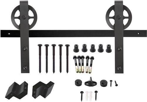 Schuifdeursysteem 2 meter, hangrollen met spaakwiel 340 mm - staal mat zwart