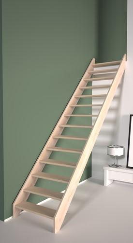 Beukenhouten rechte trap - zelf samen te stellen