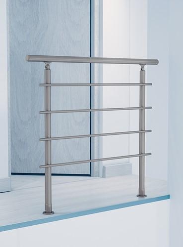 Balustrade Bretagne inoxkleurig geanodiseerd aluminium 120 cm