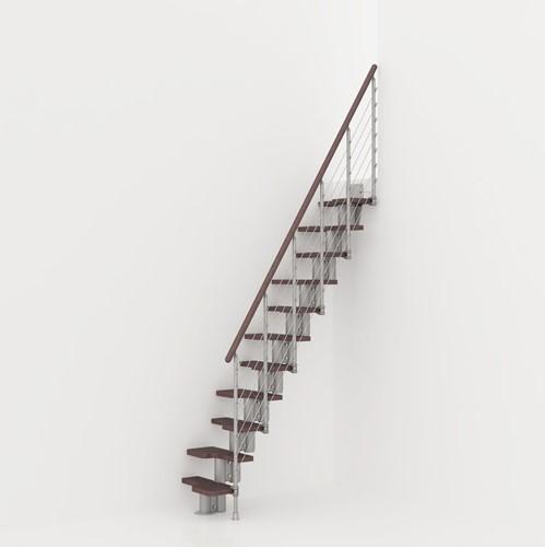 Kya multi-inzetbare trap - Zilverkleurig metaal met donker beuken treden
