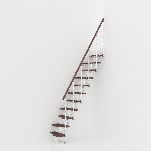 Kya multi-inzetbare trap - Wit metaal met donker beuken treden