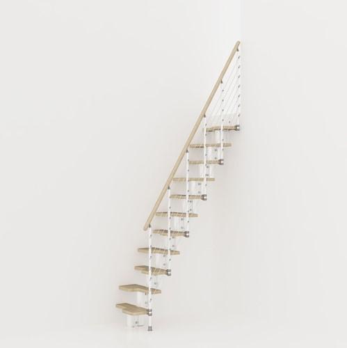 Kya multi-inzetbare trap - Wit metaal met licht beuken treden
