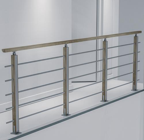 Auvergne bouwpakket balustrade aluminium/eikenhout 320 cm