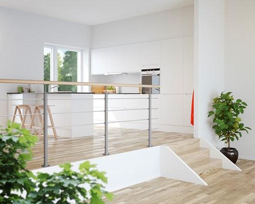 Interio balustrade staal/beukenhout 150 cm vloer bevestiging