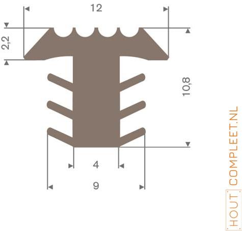 PVC infrees profiel bruin BxH= 12x10,8mm - Per meter