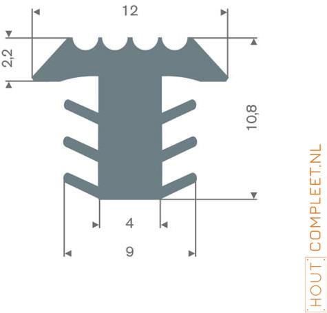 PVC infrees profiel grijs BxH= 12x10,8mm - Per meter