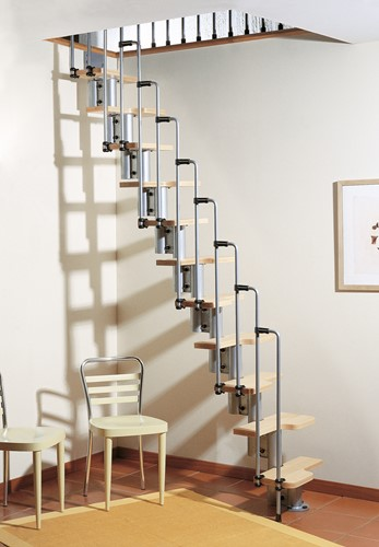 Karina multi-inzetbare trap - Grijs metaal met lichte beuken treden