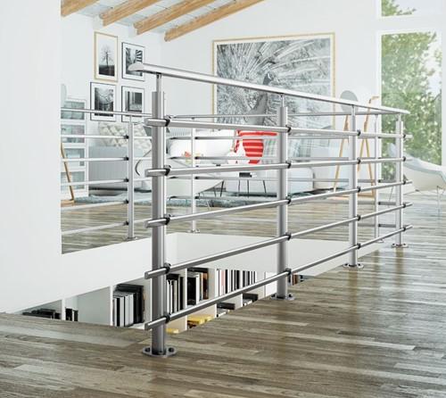 Aluminium balustrade Pure titanium 250 cm - Vloer bevestiging