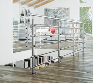 Aluminium balustrade Pure titanium 150 cm vloer bevestiging