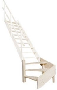 Molenaarstrap met kwartslag beneden rechts voor trapgat 75 x 163 cm - max. hoogte 357 cm
