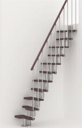 Pixima ruimtebesparende trap met spijlen leuning- chroom staal donkere beuken treden