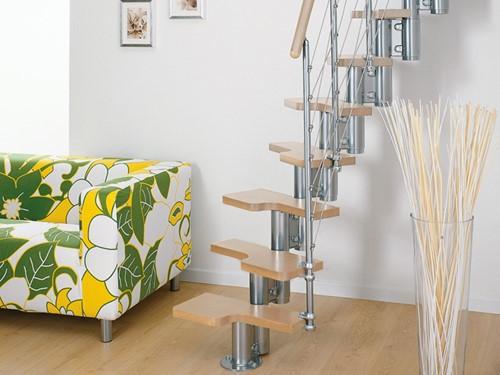 Pixima ruimtebesparende multi-inzetbare trap met kabel leuning -  chroom staal lichte beuken treden