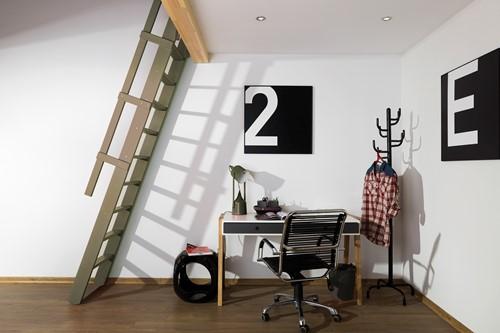 Uitschuifbare molenaarstrap voor trapgat 60 x 90 cm - RAL 7006