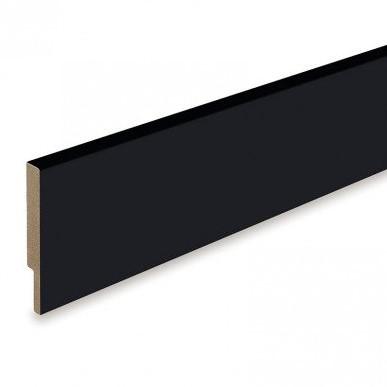 Rechte plint 16 x 120 mm  MDF - zwart gegrond