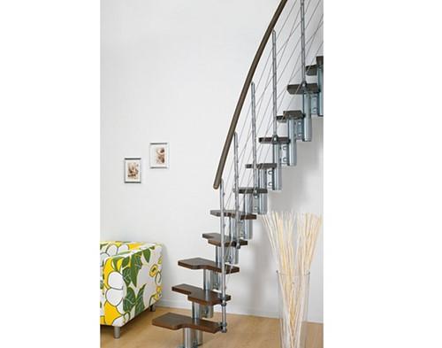 Pixima ruimtebesparende multi-inzetbare trap met kabel leuning - chroom staal donkere beuken treden