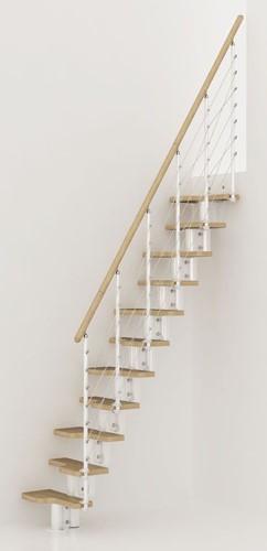 Pixima ruimtebesparende multi-inzetbare trap met kabel leuning -  wit staal lichte beuken treden