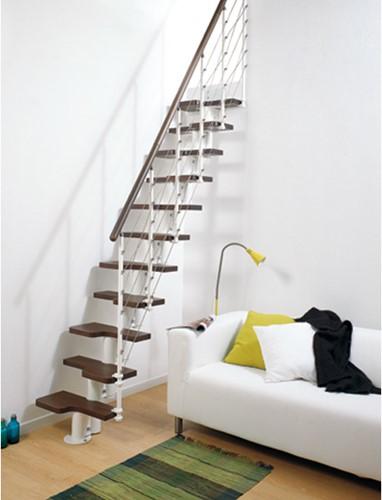 Pixima ruimtebesparende multi-inzetbare trap met kabel leuning - wit staal donkere beuken treden