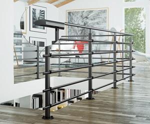 Aluminium balustrade Pure Black 150 cm vloer bevestiging