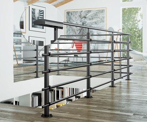Pure black balustrade 250 cm vloer bevestiging