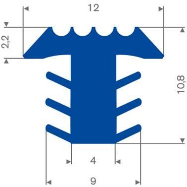 PVC infrees profiel blauw BxH= 12x10,8mm- per meter