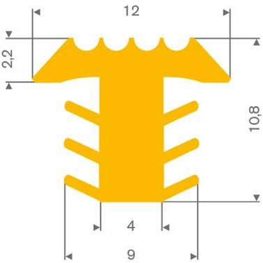PVC infrees profiel geel BxH= 12x10,8mm  - Per meter
