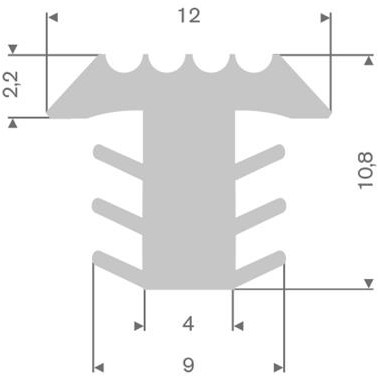 PVC infrees profiel glow in the dark BxH= 12x10,8mm