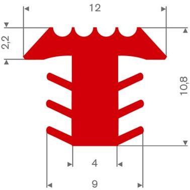 PVC infrees profiel rood BxH= 12x10,8mm - Per meter