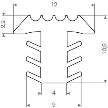 PVC infrees profiel wit BxH= 12x10,8mm - Per meter
