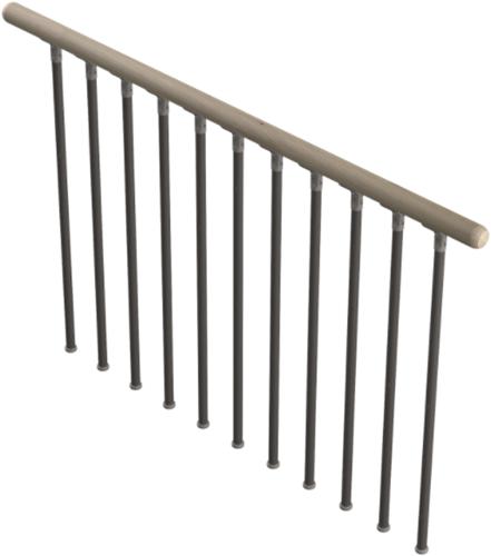 Bouwpakket balustrade Columbia metaal/eikenhout - 100cm