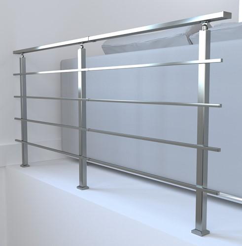 Aluminium balustrade Sogem Square 200 CM - laterale bevestiging