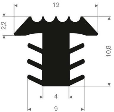 Volrubber Infrais profiel zwart BxH= 12x10,8mm
