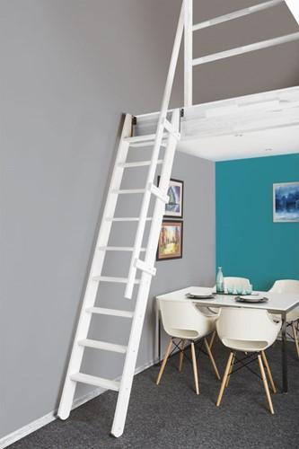 Uitschuifbare molenaarstrap voor trapgat 60 x 90 cm - RAL 9010
