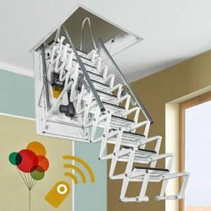 Elektrisch aangedreven vlizotrap met afstandbediening - 100 x 50 cm  - 12 treden voor een hoogte van 301 to 325 cm
