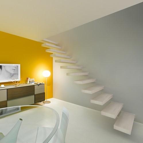 Wall zwevende rechte trap 90 cm breed - Beukenhout